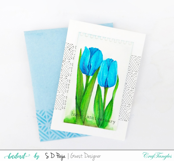 Fun floral cards by Pooja using CrafTangles Liquid watercolors 2