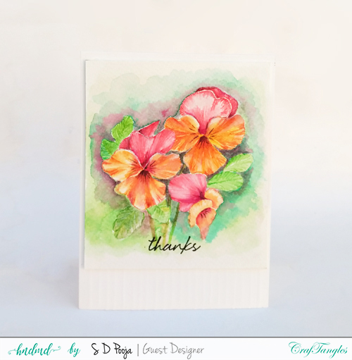 Fun floral cards by Pooja using CrafTangles Liquid watercolors 3