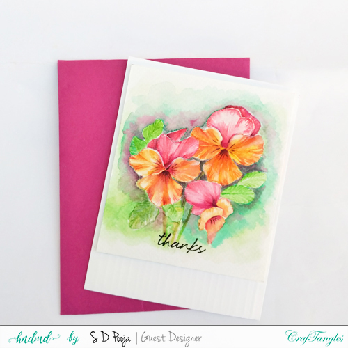 Fun floral cards by Pooja using CrafTangles Liquid watercolors 4