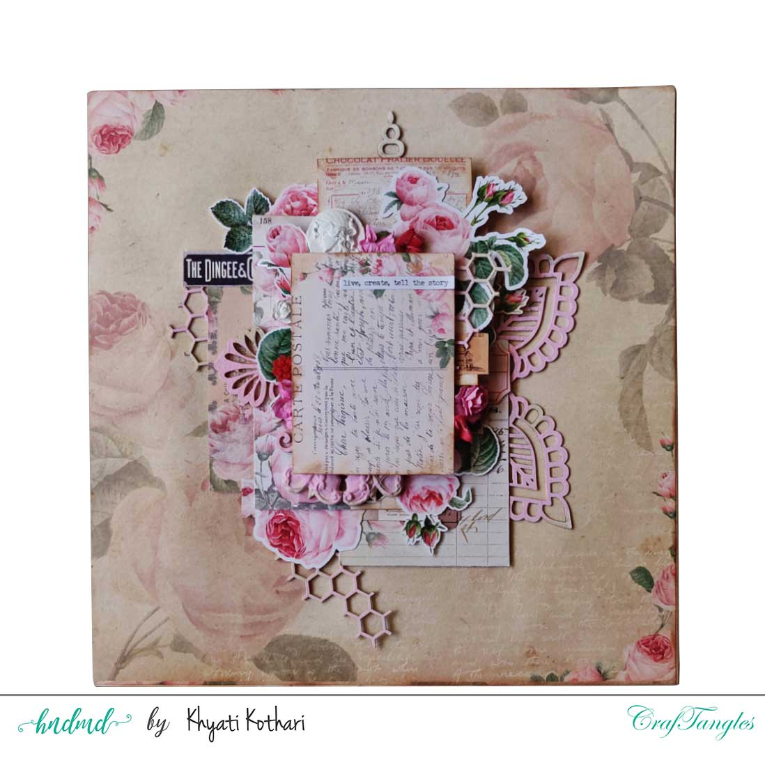 Two mixed media Layouts using Vintage Roses papers and Element packs 2