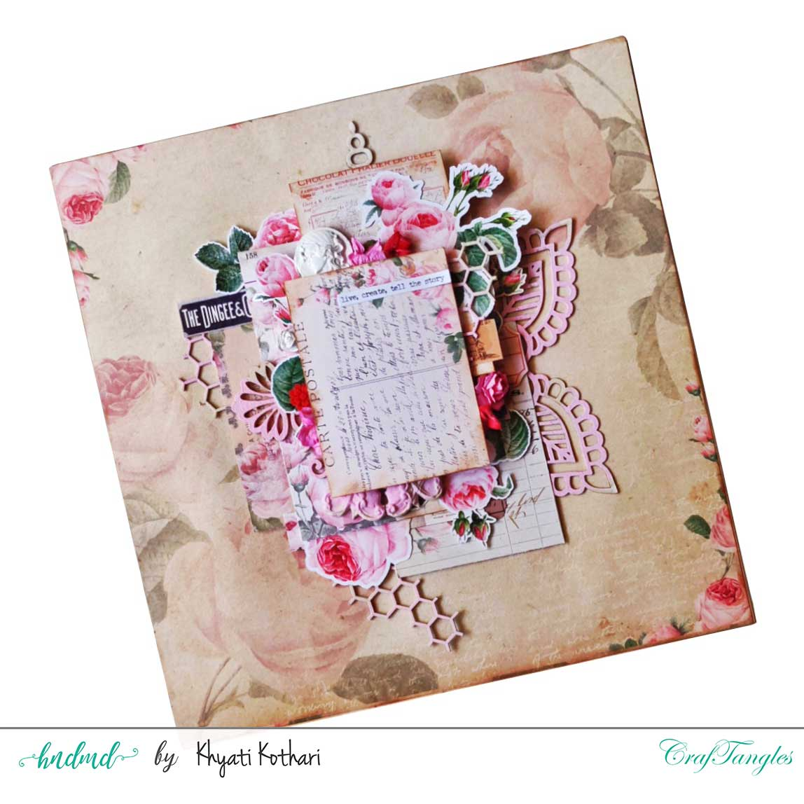 Two mixed media Layouts using Vintage Roses papers and Element packs 1
