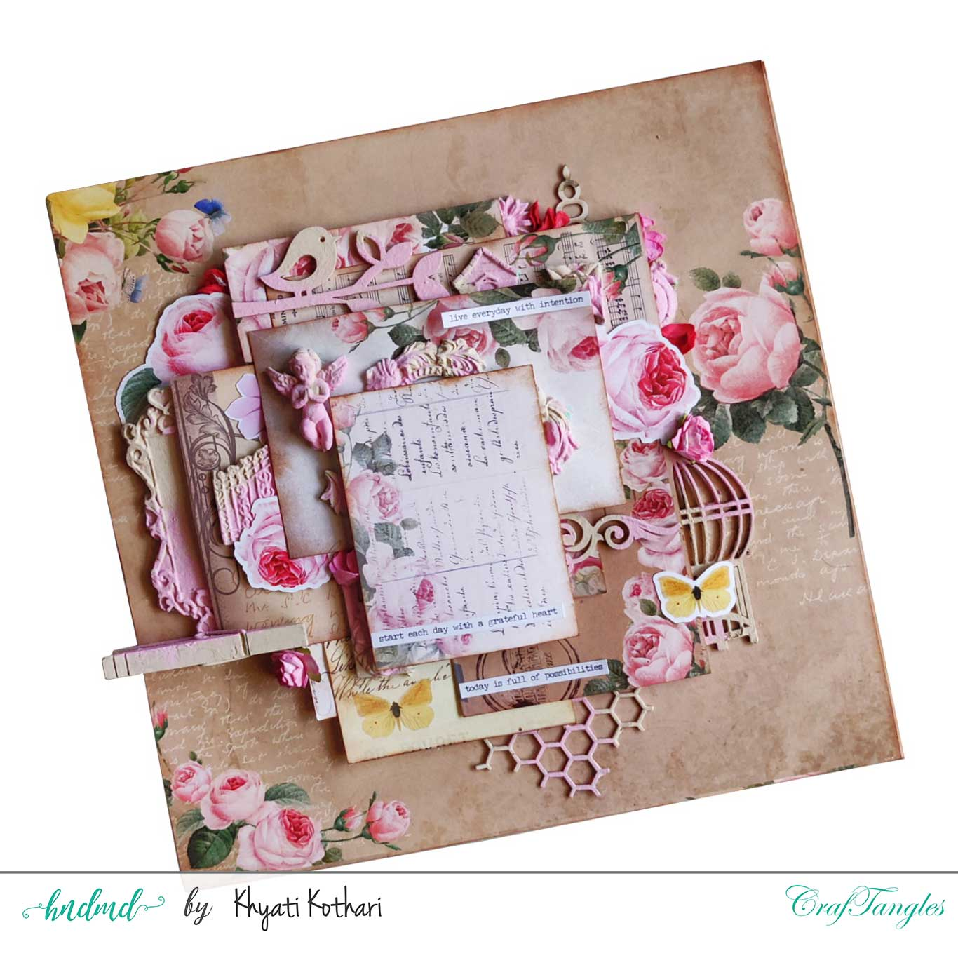 Two mixed media Layouts using Vintage Roses papers and Element packs 7