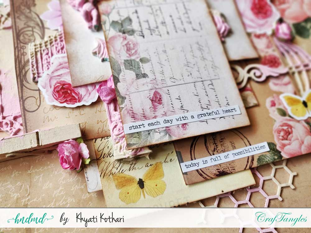 Two mixed media Layouts using Vintage Roses papers and Element packs 9