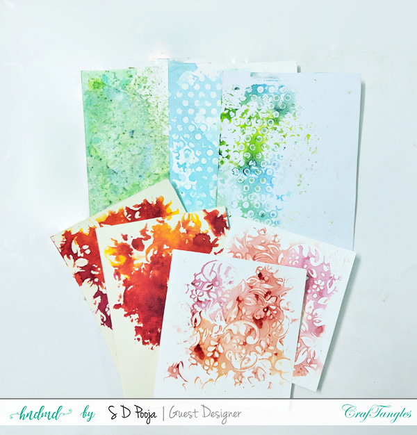 Exploring CrafTangles Liquid watercolors with different techniques by SD Pooja 2
