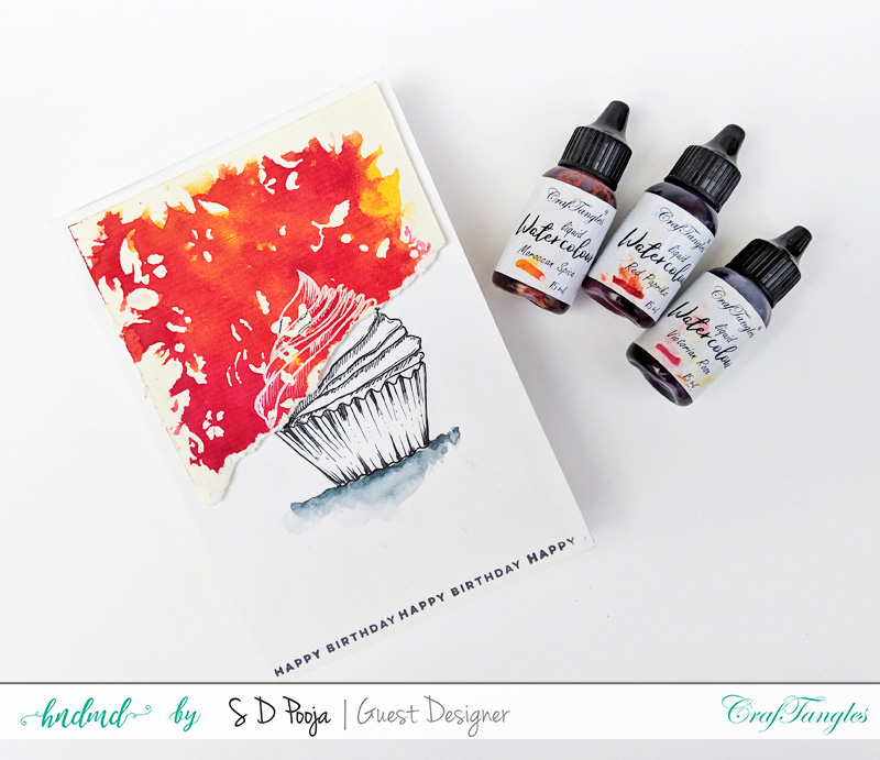 Exploring CrafTangles Liquid watercolors with different techniques by SD Pooja 3