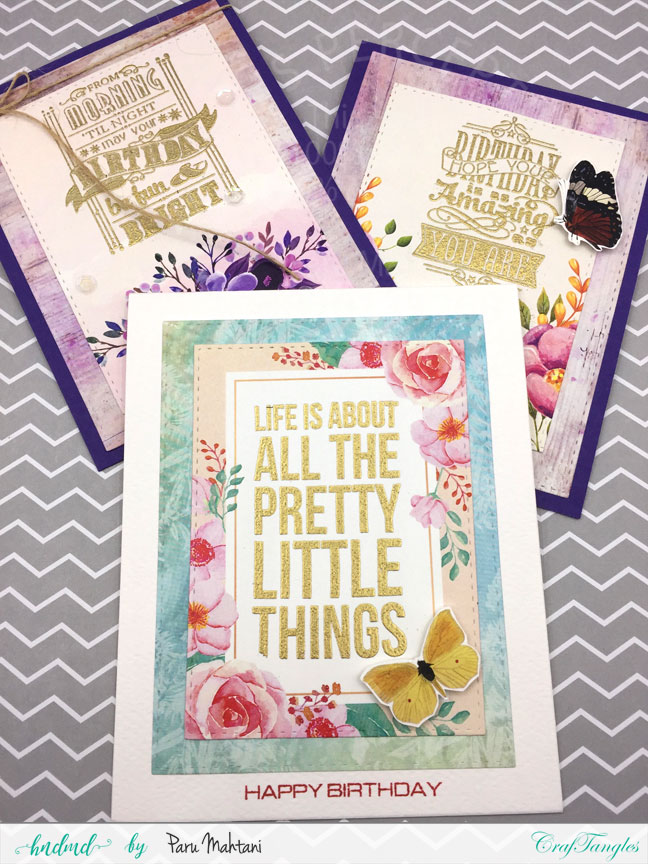 "Floral cards using Craftangles ""Countryside"" patterned paper and element packs 1"
