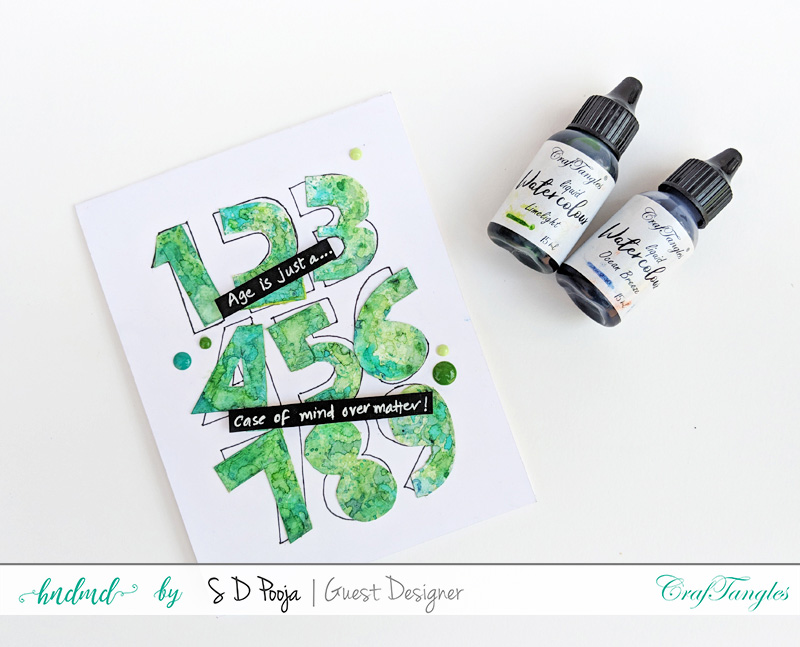 Exploring CrafTangles Liquid watercolors with different techniques by SD Pooja 7