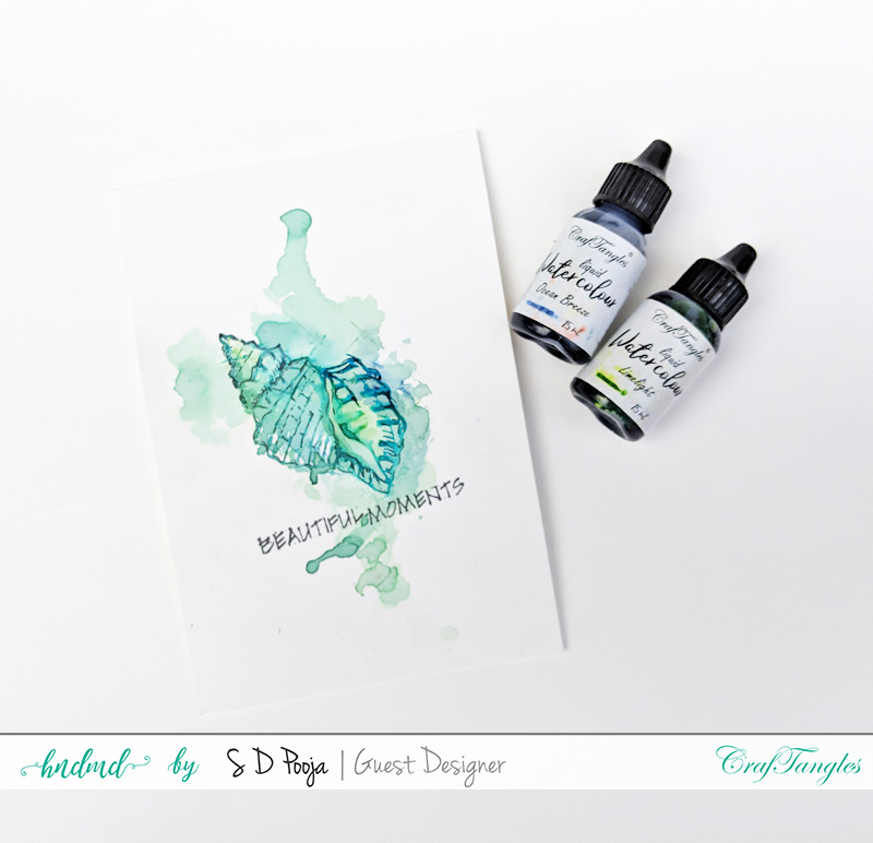 Exploring CrafTangles Liquid watercolors with different techniques by SD Pooja 5