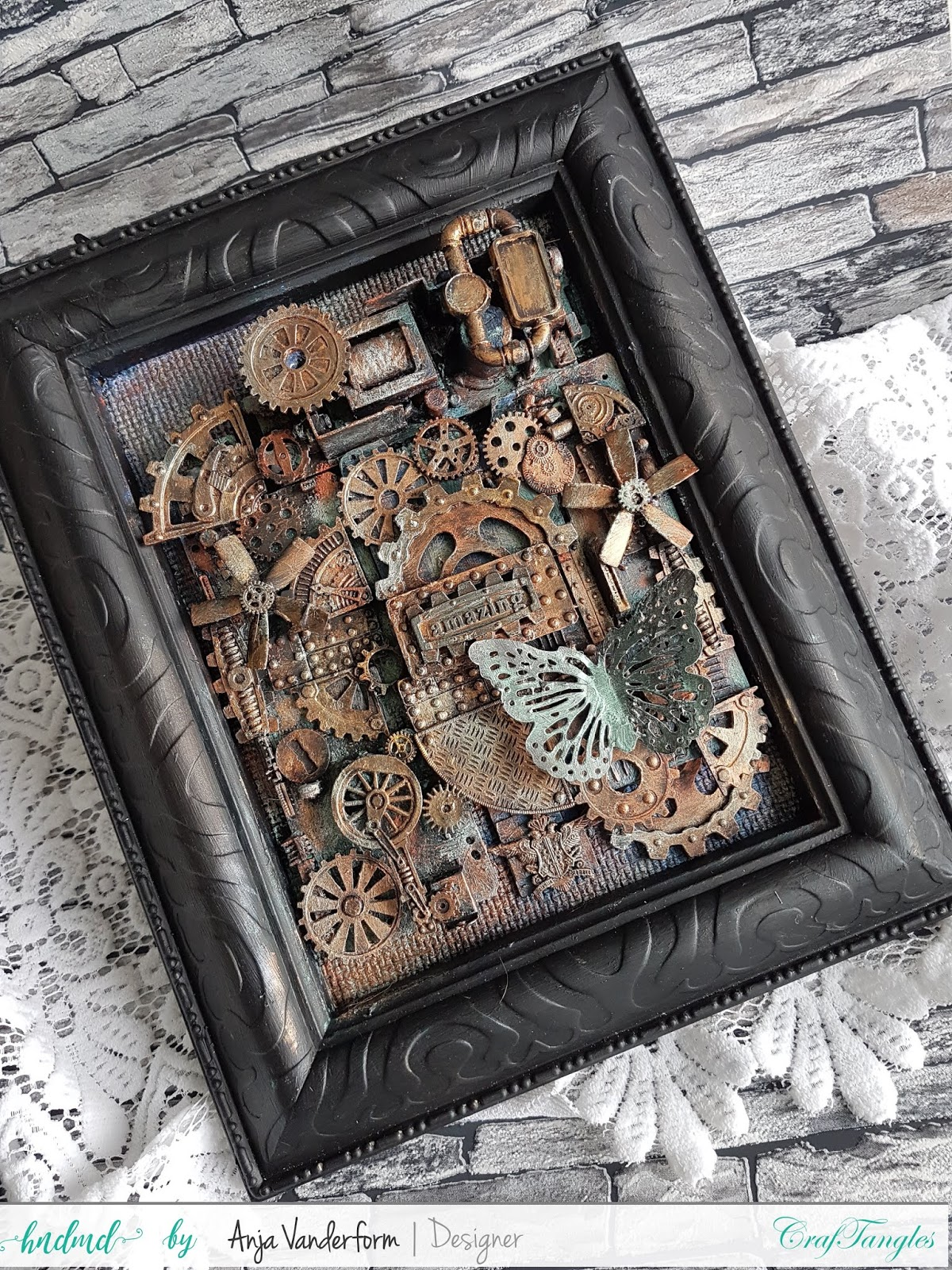 Steampunkstyle Altered Frame With Craftangles Artwaxes 1
