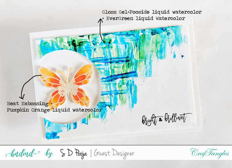 Some inspirations by SD Pooja using the newly April CrafTangles liquid watercolors 2
