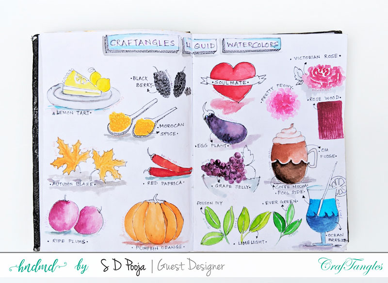 Some inspirations by SD Pooja using the newly April CrafTangles liquid watercolors 1