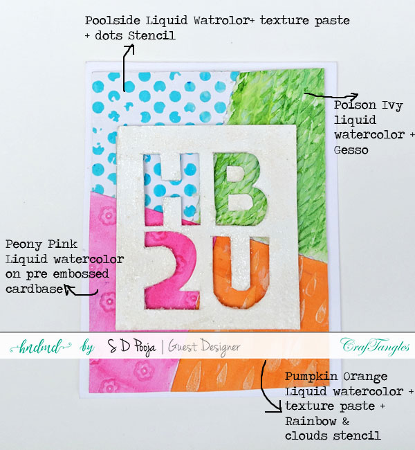 Some inspirations by SD Pooja using the newly April CrafTangles liquid watercolors 6