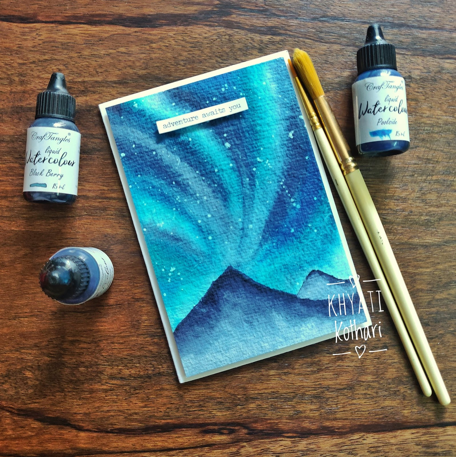 CrafTangles April Challenege inspirations by Khyati using liquid watercolors 3