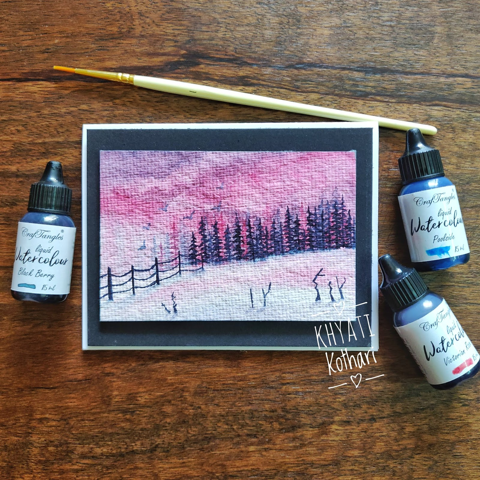 CrafTangles April Challenege inspirations by Khyati using liquid watercolors 8