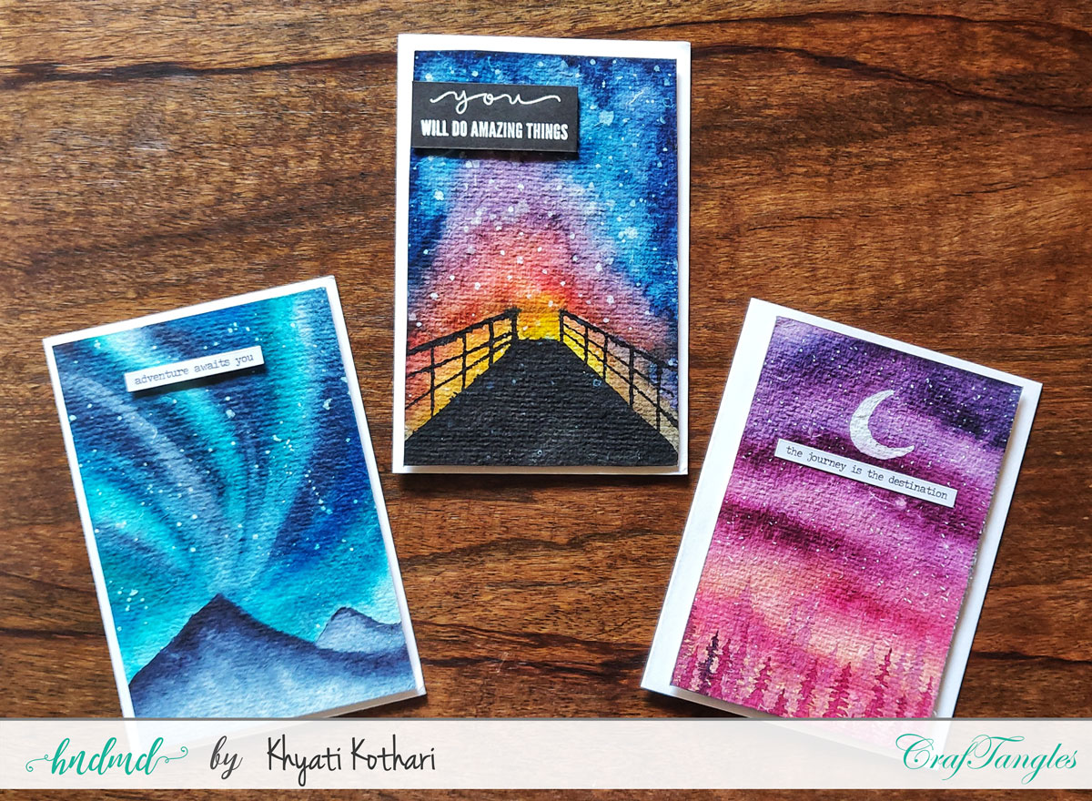 CrafTangles April Challenege inspirations by Khyati using liquid watercolors 1