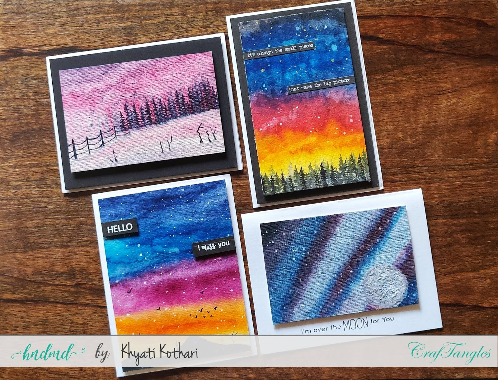 CrafTangles April Challenege inspirations by Khyati using liquid watercolors 2