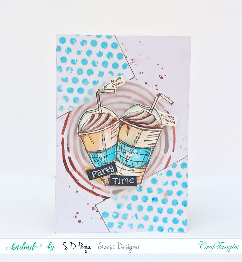 Some inspirations by SD Pooja using the newly April CrafTangles liquid watercolors 3