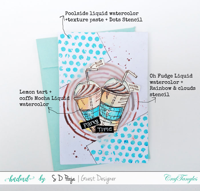 Some inspirations by SD Pooja using the newly April CrafTangles liquid watercolors 4