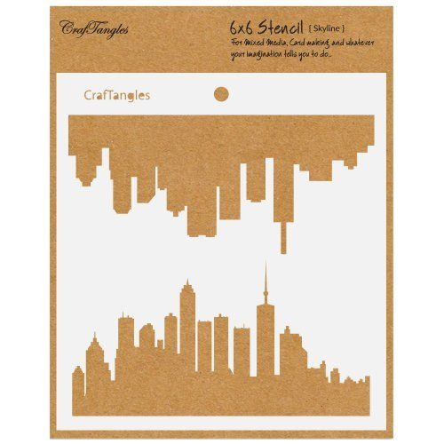 "CrafTangles 6""x6"" Create a scene Stencil - Skyline"