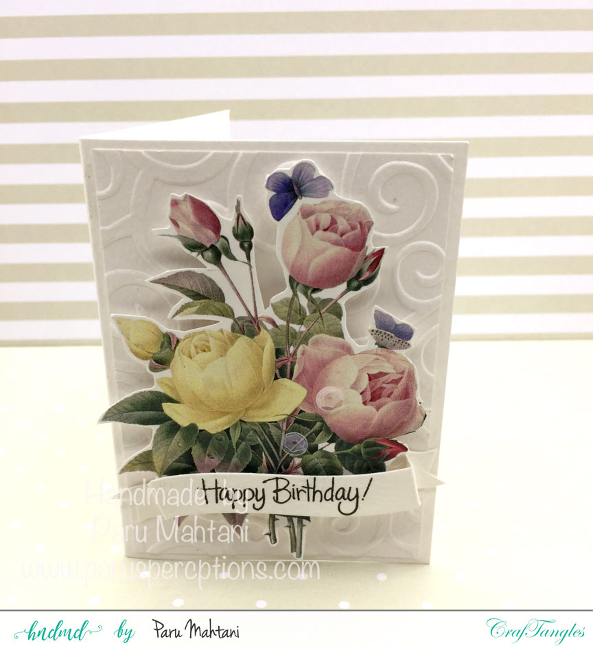 Card using Craftangles floral elements 1