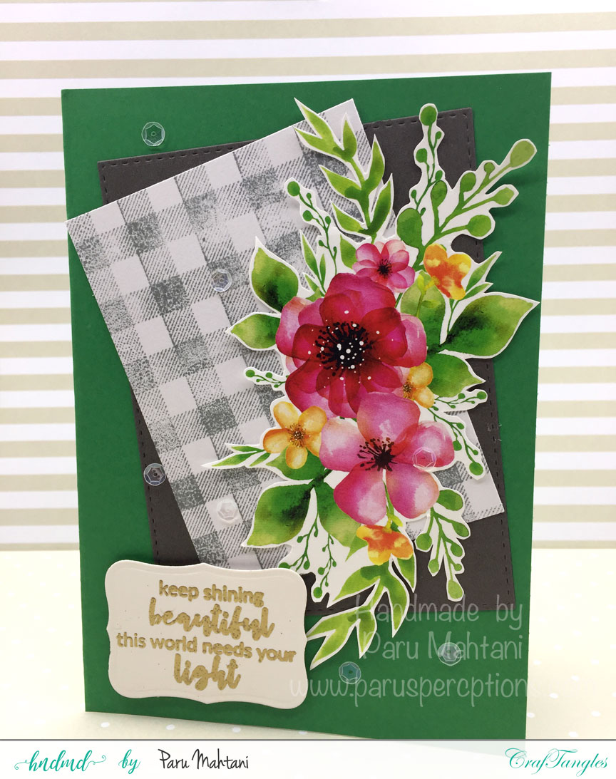 Card using Craftangles floral elements 3