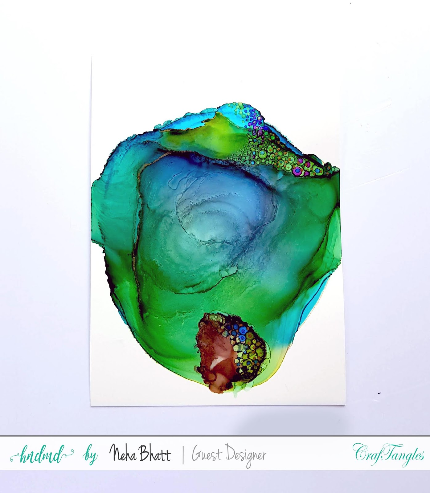 Some experiments with CrafTangles alcohol ink papers by Neha Bhatt [Periwinkle Creations] 8
