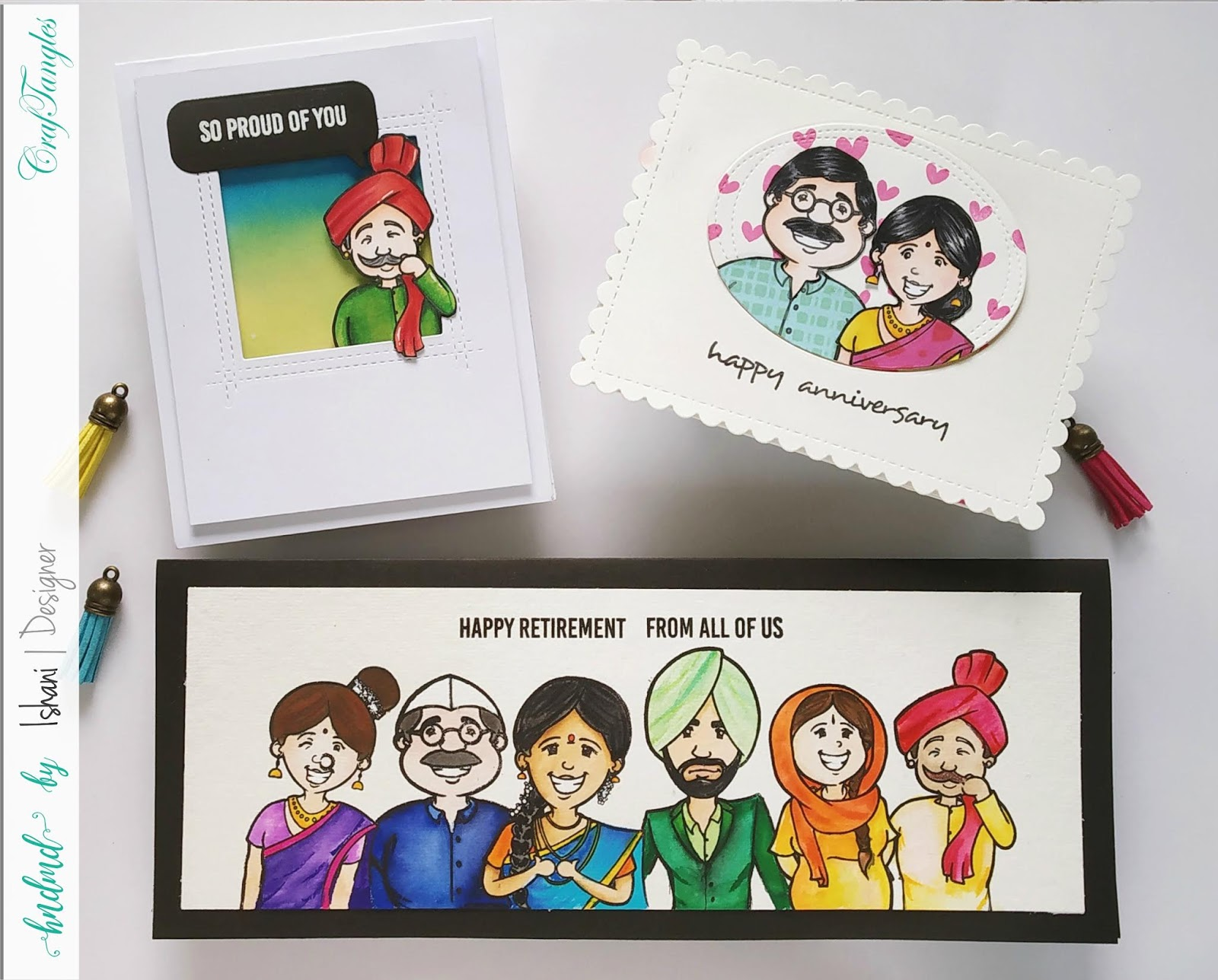 Craftangles people of India stamp set, People of India, craftangles world's best, from all of us stamp set, Masking, Zig Clean Color Brush Markers, Copic markers, distress oxides, ink blending, Paper Piecing Technique,  Quillish