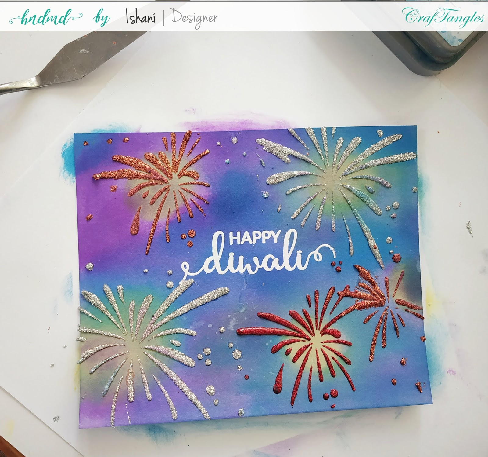Cardmaking with stencils by Ishani 10