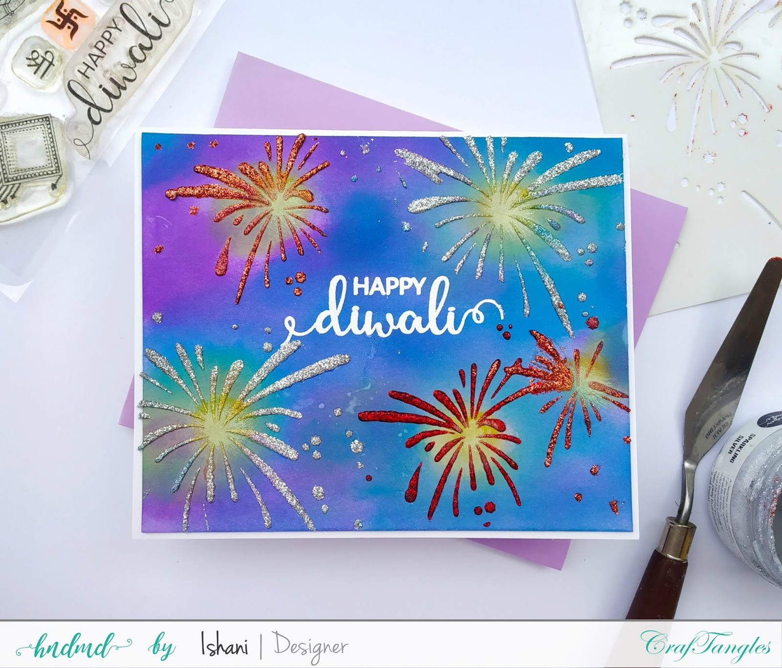 Cardmaking with stencils by Ishani 11