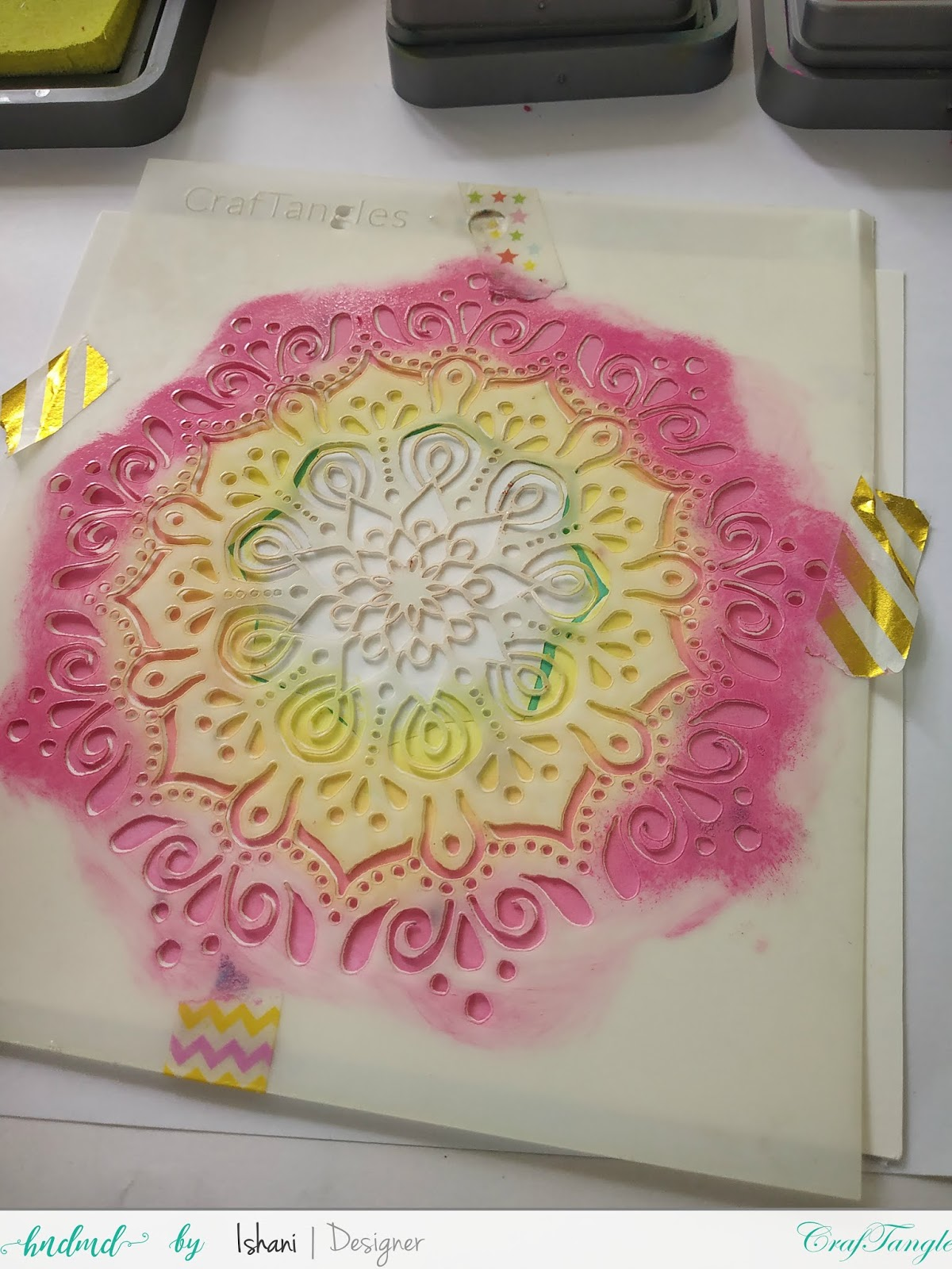 Cardmaking with stencils by Ishani 5