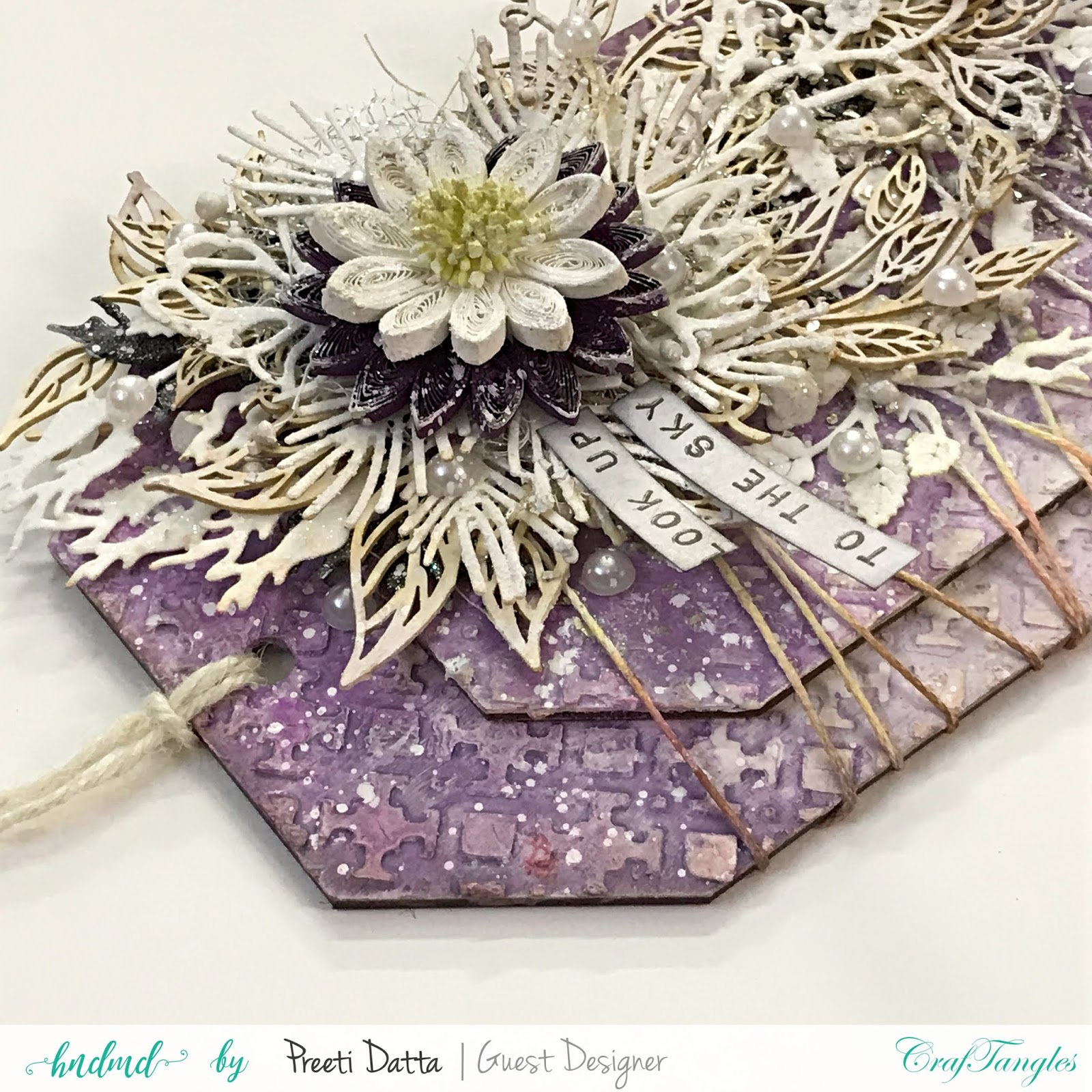 Floral Mixed Media Tag (with Pictorial) by Preeti Datta 9