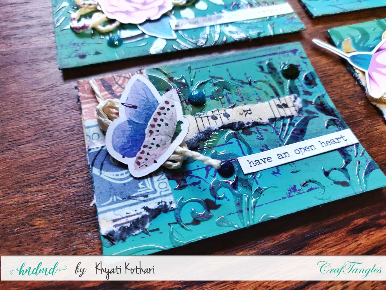 Some mixed media mini ATCs using CrafTangles products 2