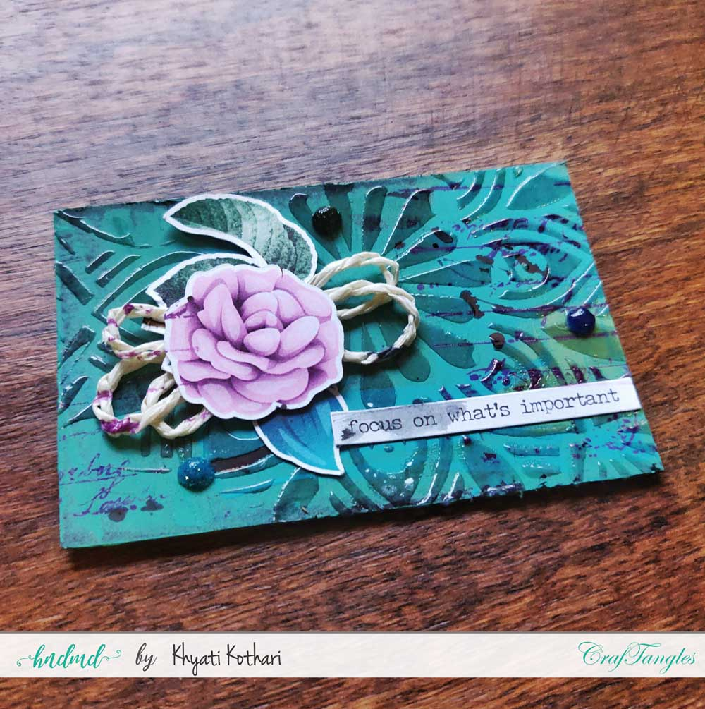 Some mixed media mini ATCs using CrafTangles products 3