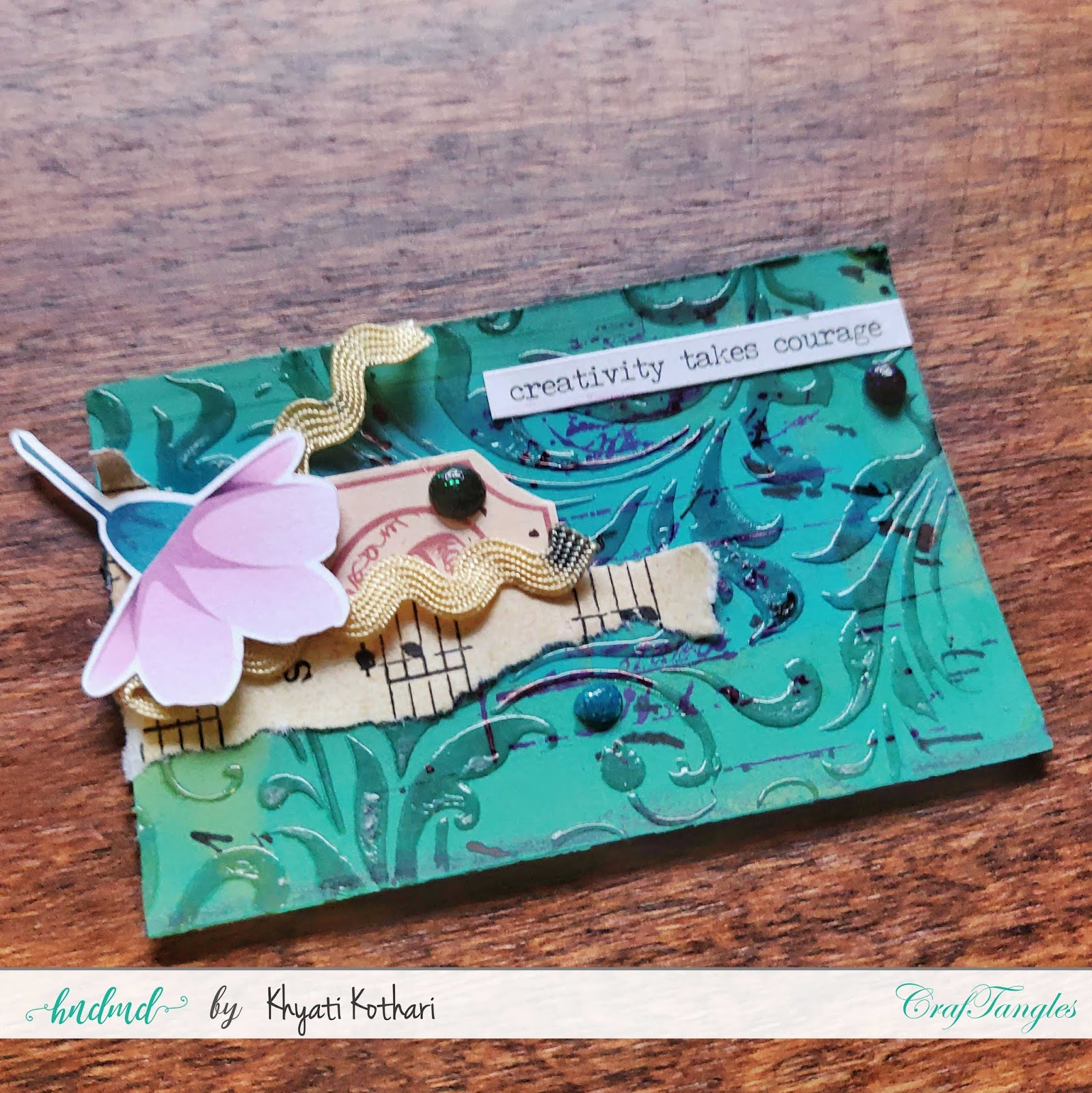 Some mixed media mini ATCs using CrafTangles products 5