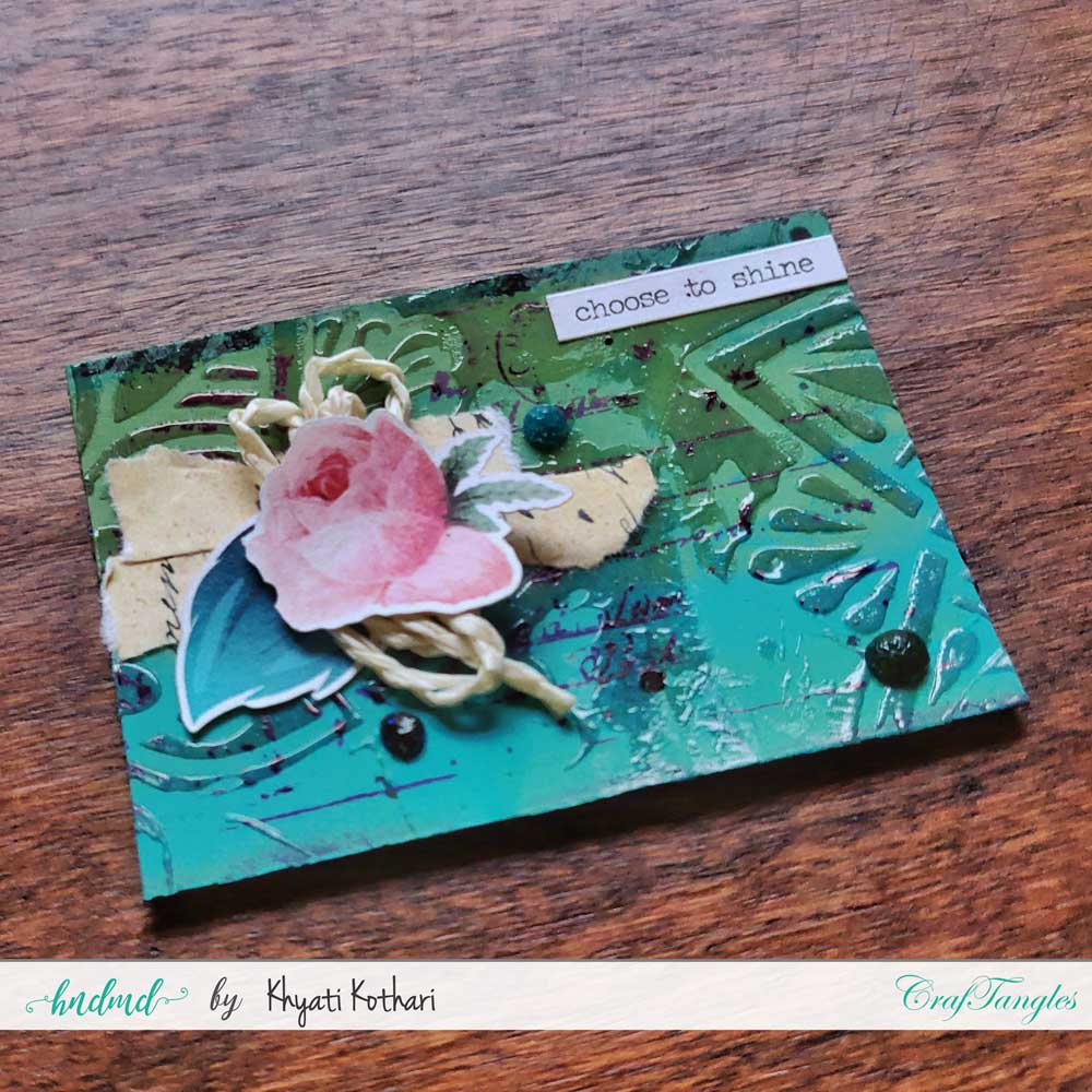 Some mixed media mini ATCs using CrafTangles products 6