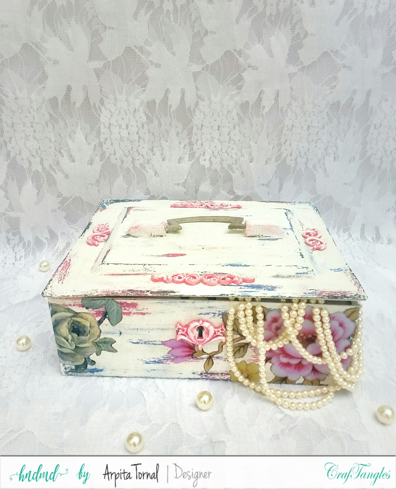 Shabby Chic Metal Trunk 6