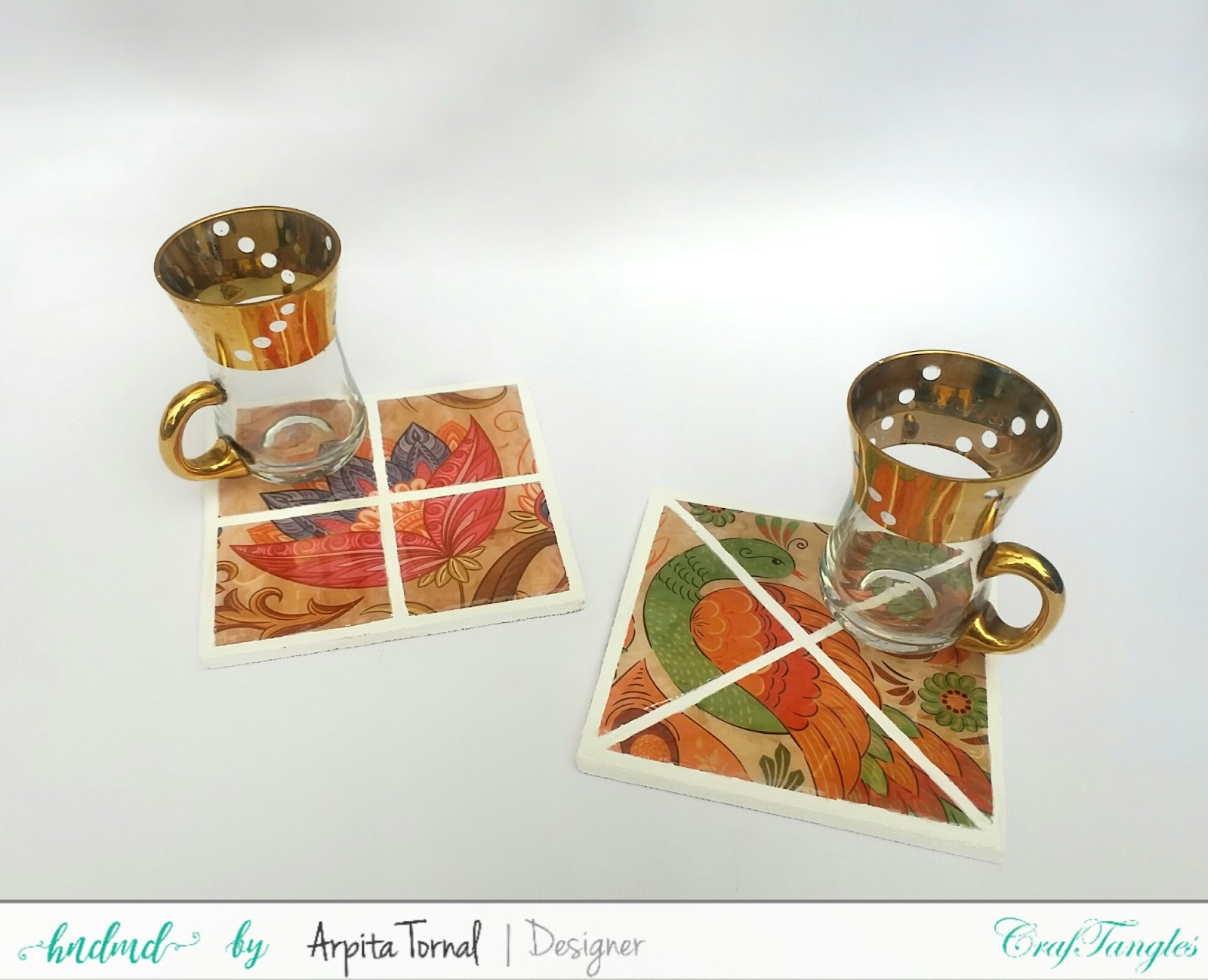Faux Mosaic Decoupage Coasters - DIY start to end video tutorial 2