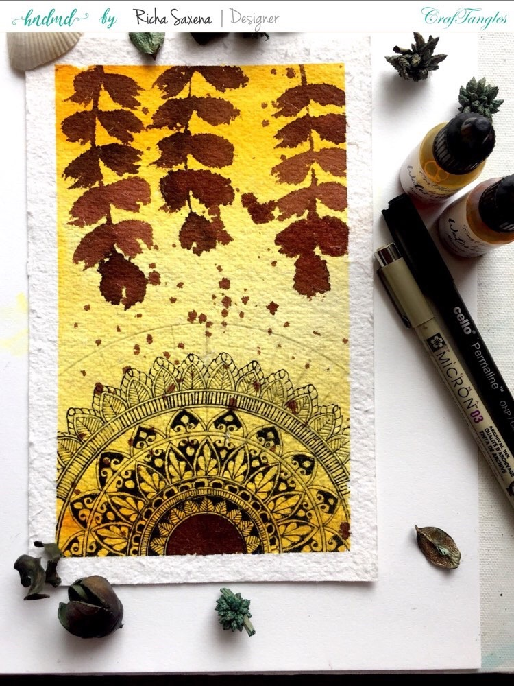 Watercolour Mandala using CrafTangles products by Richa 3