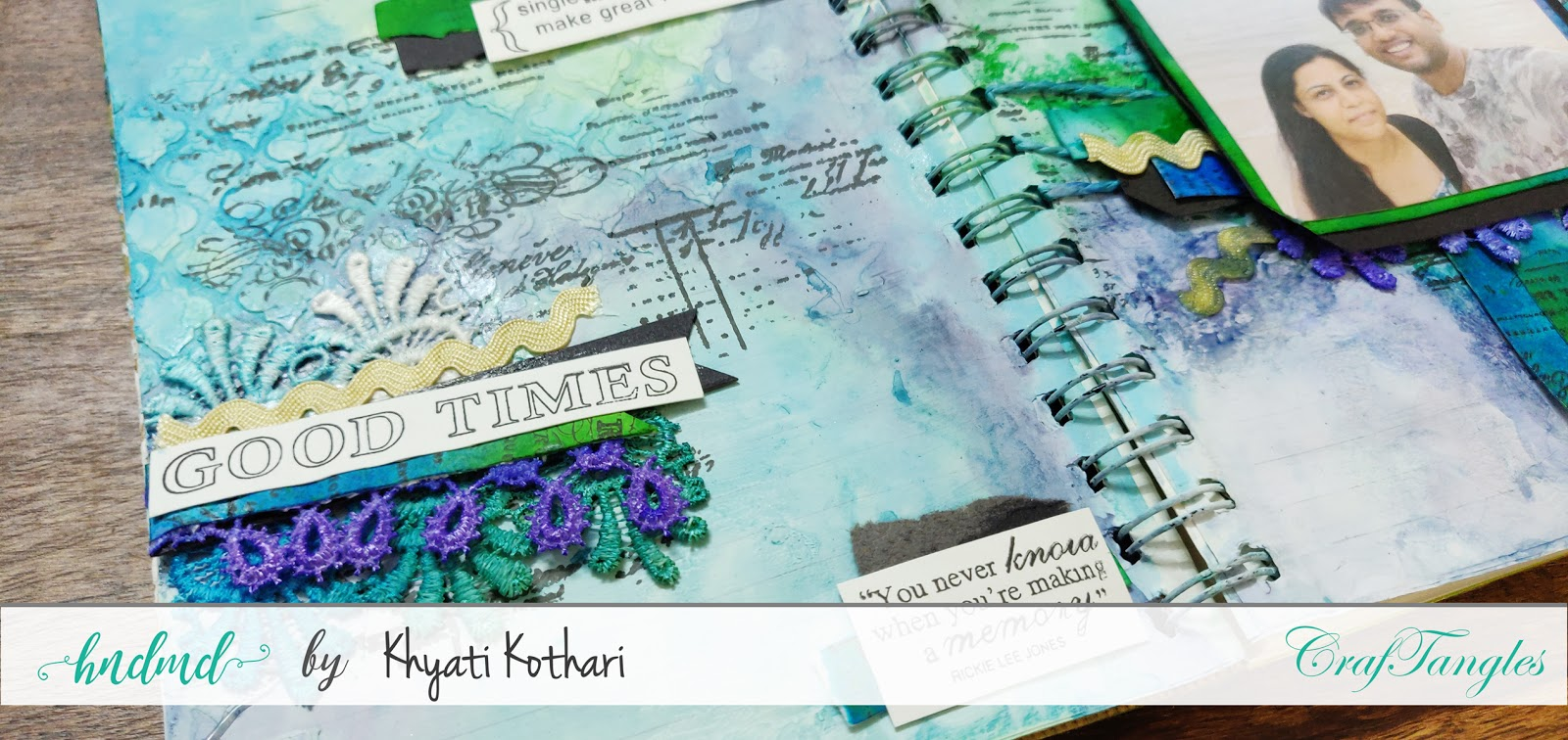 First attempt at Art Journal page using CrafTangles products 2