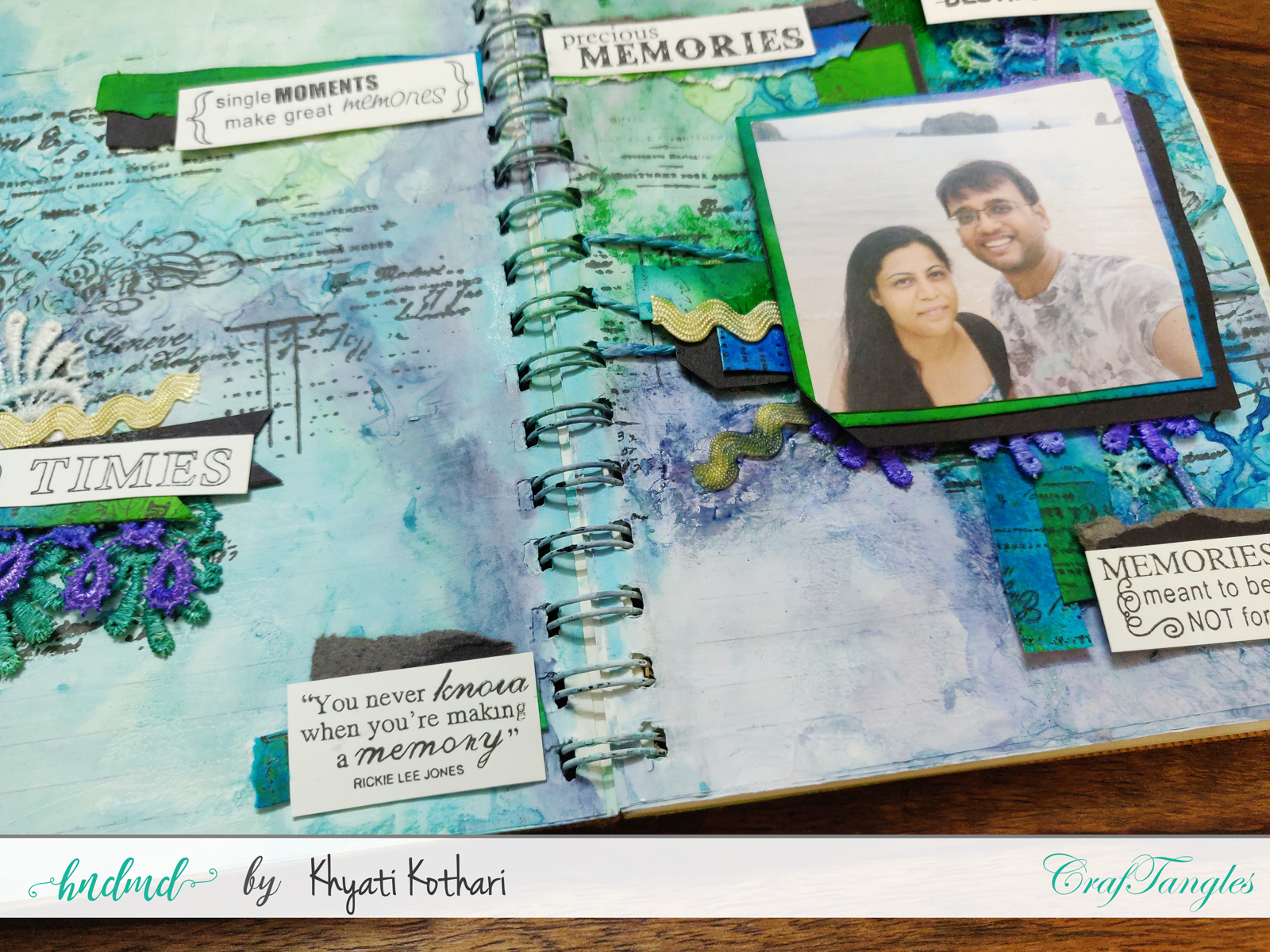 First attempt at Art Journal page using CrafTangles products 5