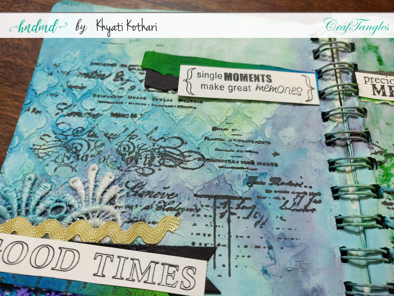 First attempt at Art Journal page using CrafTangles products 6
