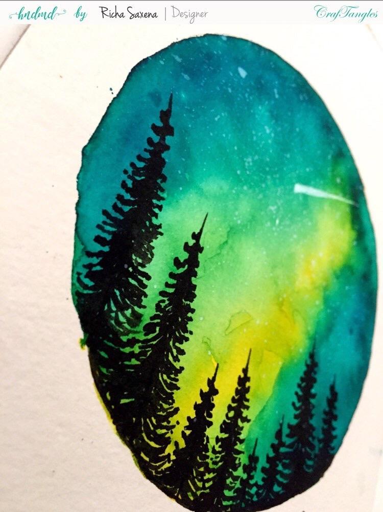 Aurora lights with liquid watercolour ink - DIY watercolouring Tutorial 2