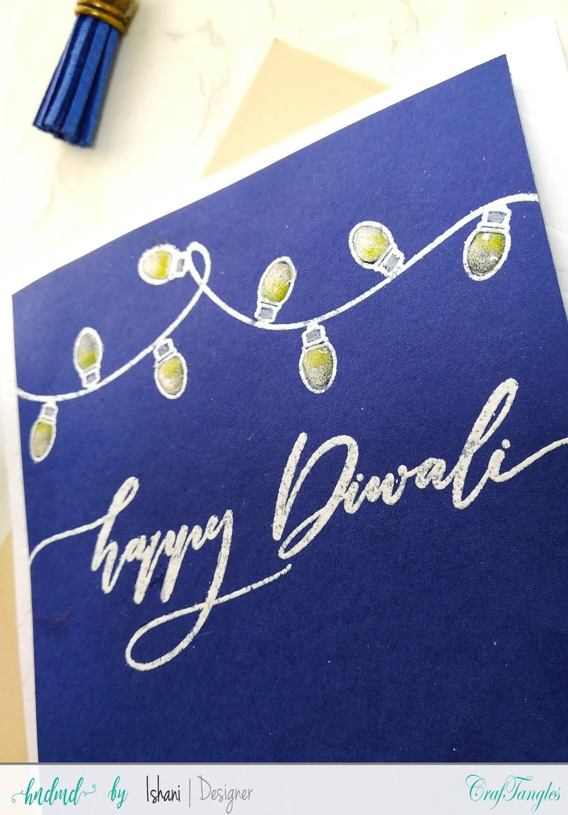 Craftangles Festive lights, Craftangles Diwali sentiments, Diwali cards, easy diwali cards, quick diwali cards, diwali lights card, handmade diwali cards