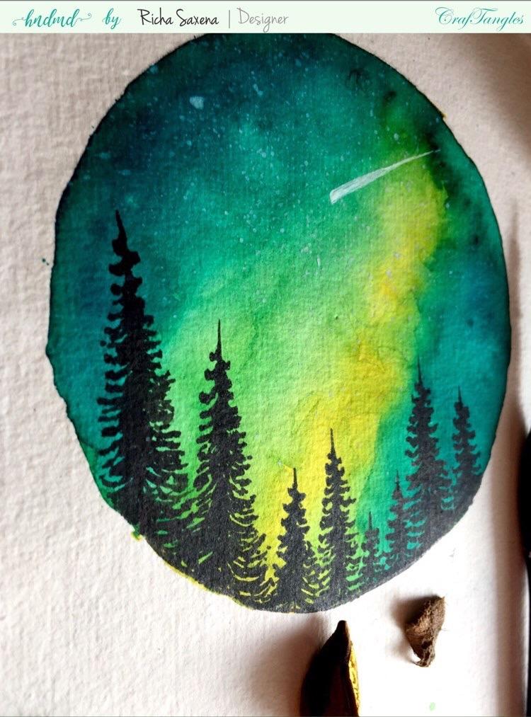 Aurora lights with liquid watercolour ink - DIY watercolouring Tutorial 4