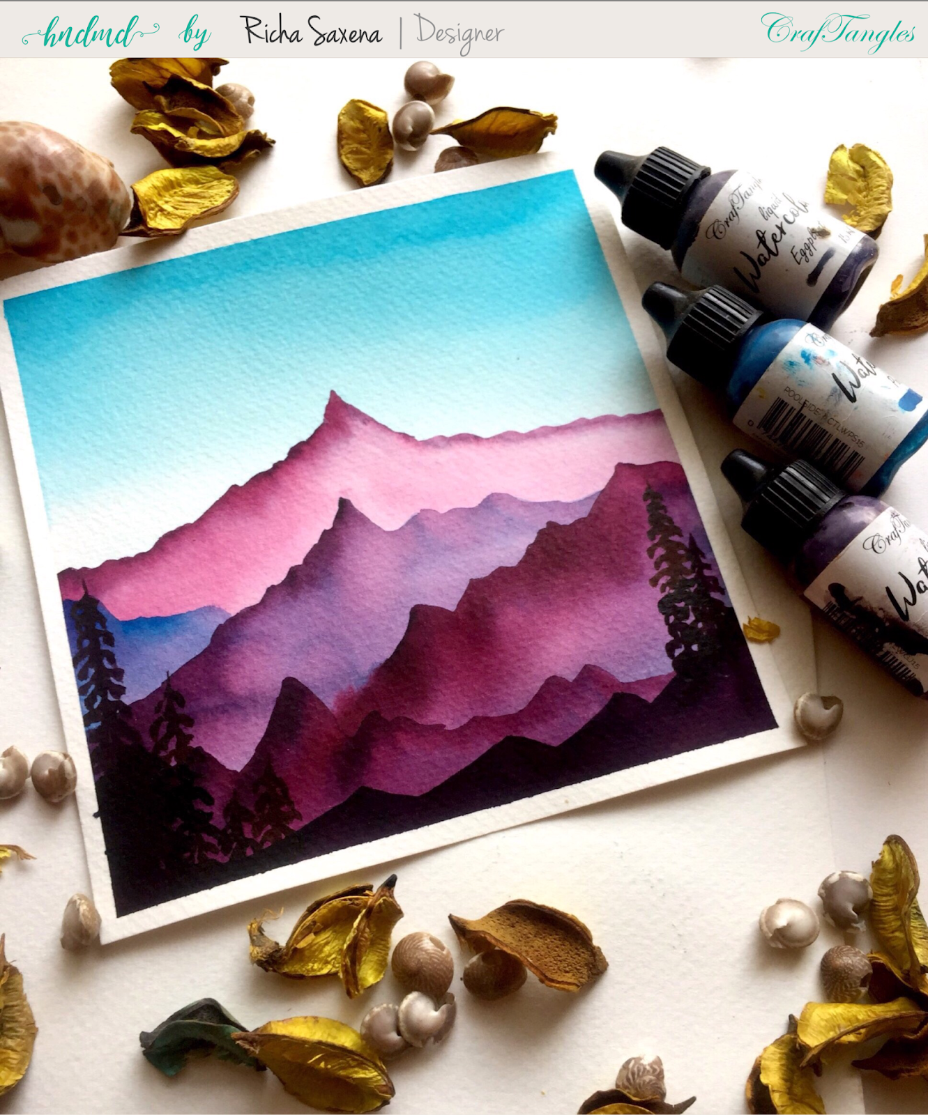 Watercolour tutorial - Misty mountain scene 13