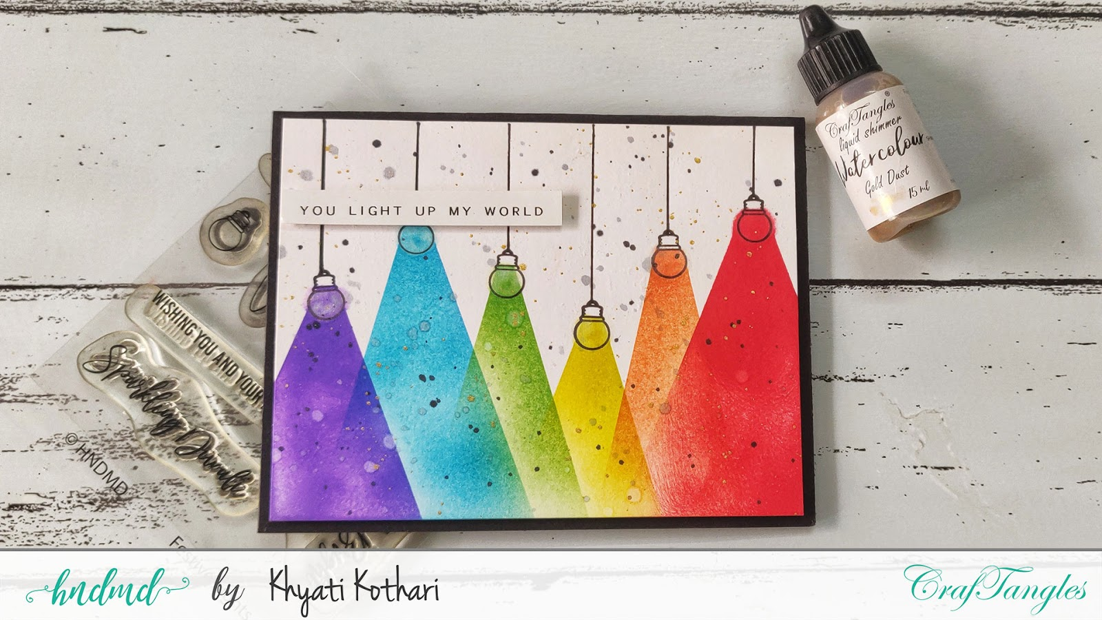 Rainbow card with distress inks and blending brushes - Video tutorial 2