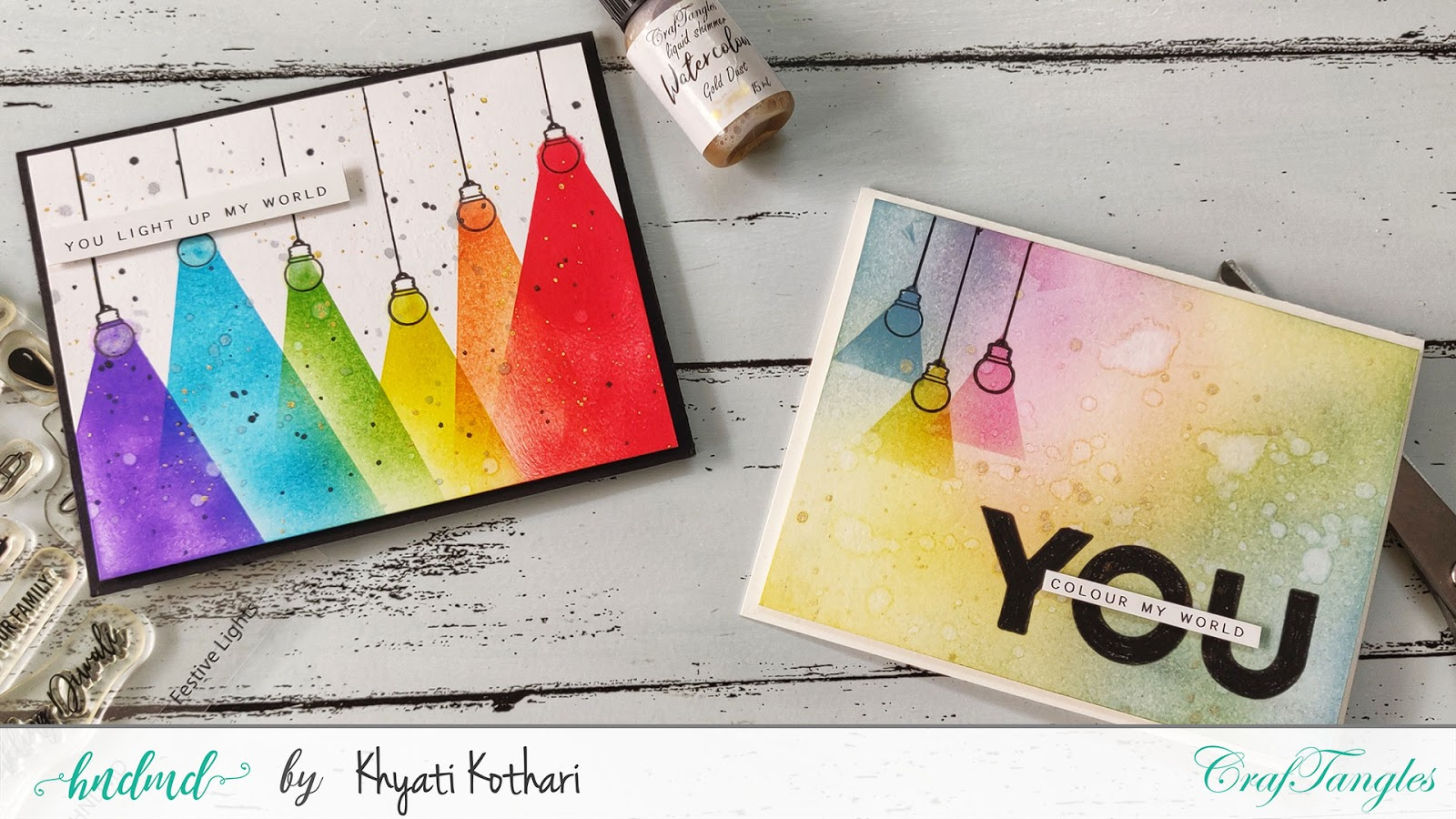 Rainbow card with distress inks and blending brushes - Video tutorial 22