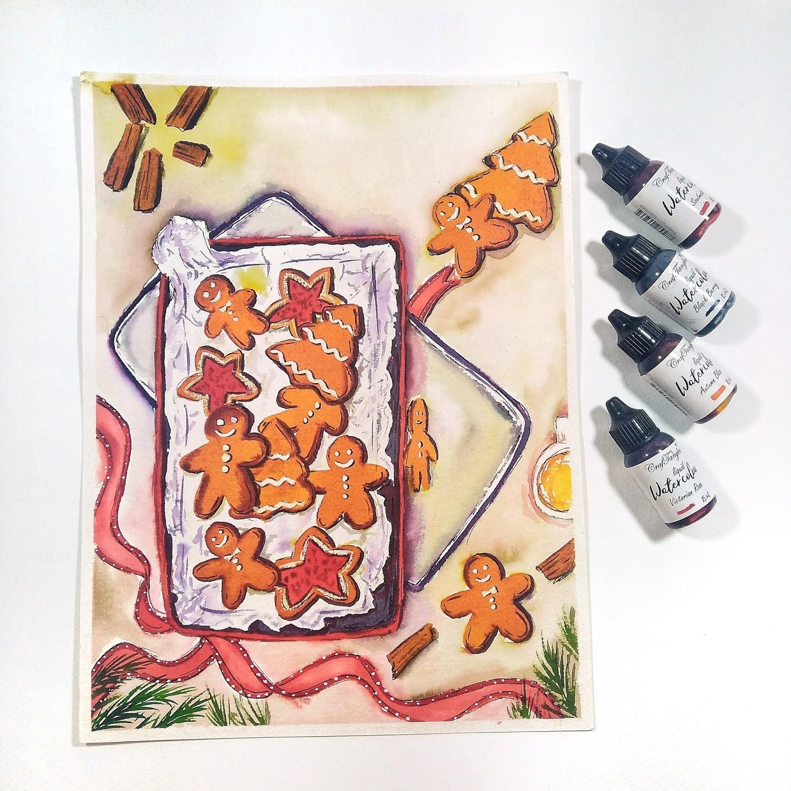 Christmas Cookies Illustration using Craftangles Liquid Watercolors 1