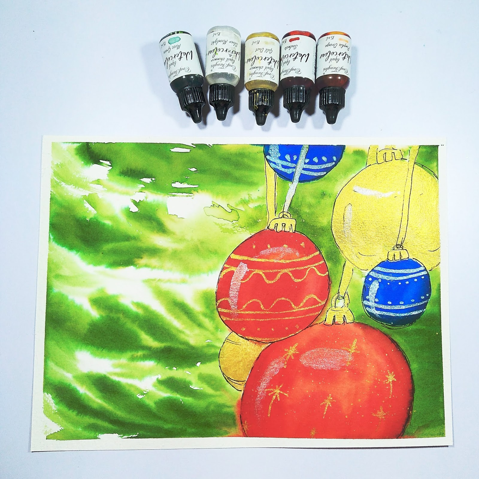 Christmas Baubles with Craftangles Liquid Watercolors 1