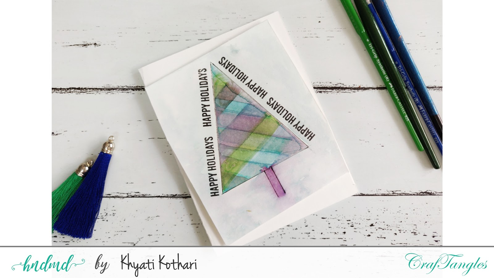 How to make Modern Christmas Watercolor cards with Video Tutorial 2
